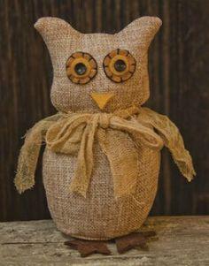 burlap stuffed owl decor
