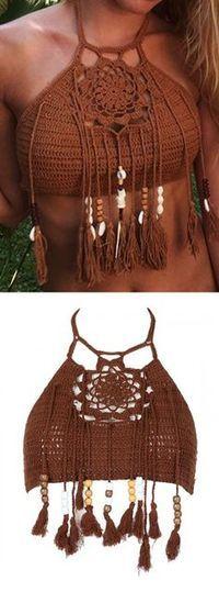 Coffee Halter Crochet Bead Tasseled Crop Top - Choies.com