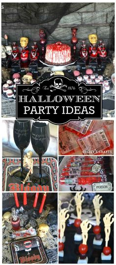 A bloody good time Halloween party with spooky decorations, favors, vampire costumes and tableware! See more party plan Vampire Halloween Party, Vampire Party, Halloween Party Favors, Halloween Dinner, Halloween Table, Halloween 2015, Halloween Birthday, Holidays Halloween, Halloween Treats