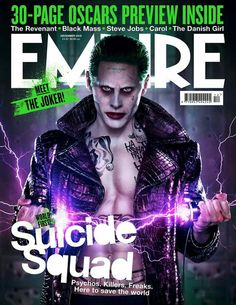 Jared Leto & Cara Delevingne: More 'Suicide Squad' Covers!: Photo Jared Leto is showing off his Joker abs once again on this alternate cover for the Suicide Squad Empire magazine spread! Cara Delevingne, Jared Leto Joker, Justice League, Will Smith, Harley Quinn Et Le Joker, Thirty Seconds To Mars, 30 Seconds, The Hateful Eight, Trailer Oficial