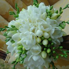 White freesia bouquet? Will be in season...