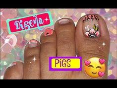 ♥Decoración de uñas Pies FÁCIL♥ /Easy flowers Toenail art - YouTube Pedicure Nails, Manicure, Nails 2017, Feet Nails, Toe Nail Designs, Toe Nail Art, Art Model, Beauty Nails, Simple Designs