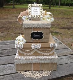 Victorian Burlap and Lace Wedding Money Card Box rustic bridal invitation beige #AllTheBestCardBoxes