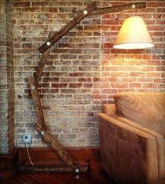 Rustic Wooden Floor Lamp