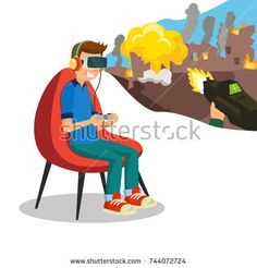 Augmented Reality Game Vector. Young Boy With Headset Playing Virtual Reality Simulation Game. Isolated Flat Cartoon Character Illustration