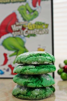 'How the Grinch Stole Christmas' Crinkle Cookies Recipe #Christamas #christmas