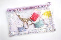 Estrella color lila / lápiz caso monedero transparente