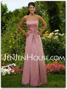 Bridesmaid Dresses - $97.99 - A-Line/Princess Strapless Floor-Length Satin Bridesmaid Dresses With Ruffle (007001049) http://jenjenhouse.com/A-line-Princess-Strapless-Floor-length-Satin-Bridesmaid-Dresses-With-Ruffle-007001049-g1049