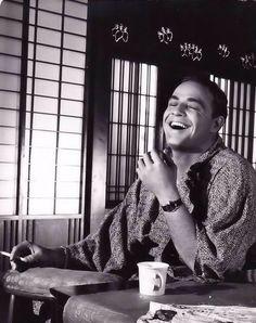 "A candid of Marlon Brando on the set of ""Sayonara"" circa 1957."