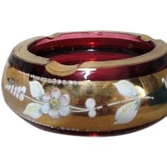 Bohemian Cranberry Glass Ashtray with Gold Painted Trim and Flowers from somethingwonderful on Ruby Lane
