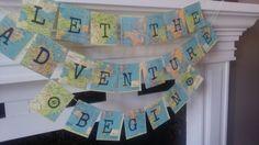 Adventure Banner, Travel theme Banner, Retirement Adventure, travel Bridal shower, Going Away, Map Decor, farewell banner
