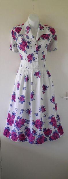 Genuine Original 40s 50s VTG Pink Rose Floral Print Long Midi Tea Day Dress 12 M   64.00