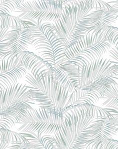 Majestic Palm Wallpaper - light sage & turquoise
