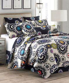 Another great find on #zulily! Black & Jewel-Tone Paisley Nadira Quilt Set #zulilyfinds