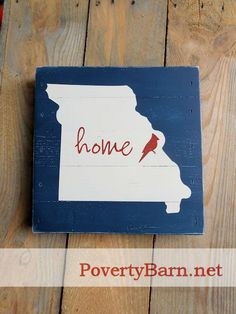 Love Missouri?  Love the St. Louis Cardinals?  Our SPECIAL EDITION Missouri Home sign is just for you!  This 10x10-inch piece can be done in a number of color combinations to suit your decor. Available now in our Etsy shop for $21. #HandmadeInAmerica
