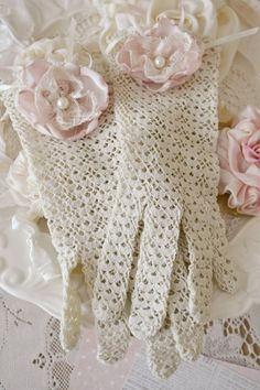 Gorgeous Set of Vintage Lace Gloves Embellished by Jenneliserose