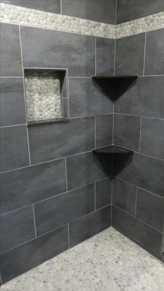 Pebble Accent Nice Straight Line Find This Pin And More On Bathroom Tile Stone Ideas