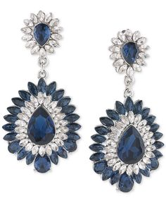 Carolee Silver-Tone Blue and Clear Crystal Chandelier Clip-On Earrings