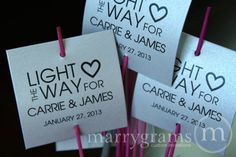 Sparkler Tags – Light the Way – Wedding Favor Tags Script Custom with Names and Date – Sparklers Tiffany Blue, Pink (Set of 24) 1