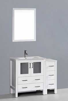 Bosconi AW130U1S (single) 42 Inch White Modern Bathroom Vanity Set