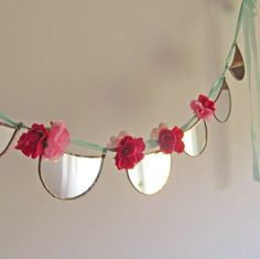 Bohemian Scalloped Mirror Garland, Romantic Pink and Red Rose Mirrored Wedding Garland