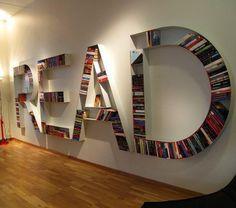 Uma estante para livros muito criativa! Não acham?