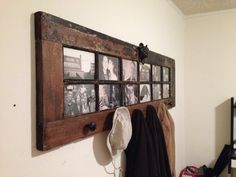 "Great coat rack idea! This wonderful rustic French door came from an architectural salvage, the ""hooks"" are antique door knobs."