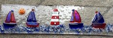 Lola's Little Glass Studio - Beach Huts, Boats, lighthouses Glass Fusing Projects, Stained Glass Projects, Glass Boat, Glass Fusion Ideas, Making Glass, Shattered Glass, Fused Glass Art, Small Art, Glass Design