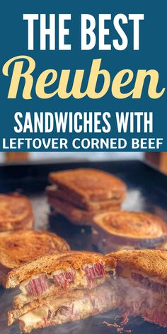 Reuben Sandwiches are such a fantastic way to use up leftover corned beef! Rye bread, sauerkraut, Swiss cheese and more all in one incredible crave-worthy sandwich! #sandwich #rye #Swiss #reuben #cornedbeef #brisket #leftovers #sauerkraut Roast Beef Tacos, Grilled Brisket, Roast Beef Sandwiches, Leftover Beef Recipes, Best Reuben Sandwich, Sweet And Sour Beef, Beef Skillet Recipe, Angus Beef, Steak Bites