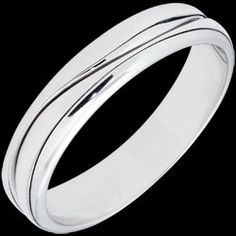 Bague Amour - Alliance homme or blanc - 9 carats