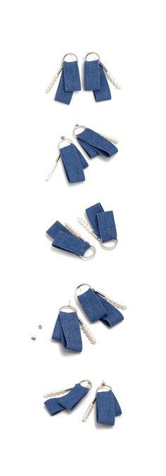 (E-1081)데님 진주 포인트 귀걸이