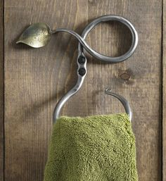 Hand Forged Recycled Steel Leaf Towel Ring - Gaiam