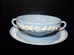 Wedgwood Queensware Cream White on Lavender Cream Soup Bowl (s) & Liner 1950s