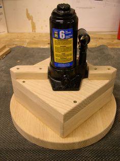 apple cider press -- bottle jack ontop of press board assembly