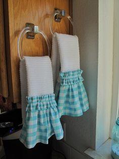 Coeur d'Alene: Riley Blake Gingham embellished hand towels #rileyblakedesigns #gingham