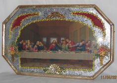 """ANTIQUE RELIGIOUS CONVEX BUBBLE GLASS """"LAST SUPPER"""" Picture Frame Dried Flowers #Unknown"""