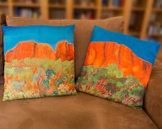 Hand painted silk cushion covers Set of 2. by MichelleAmarArt