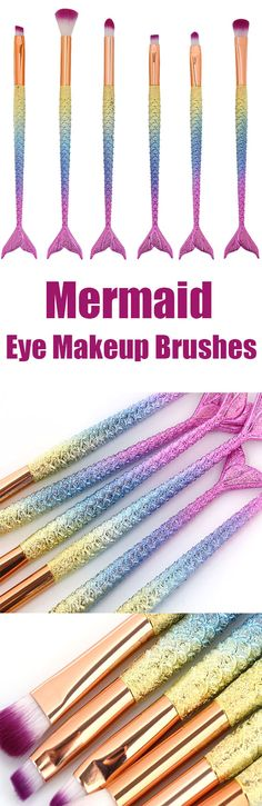 $7.07 MAANGE 6 Pcs Mermaid Iridescence Eye Makeup Brushes Set