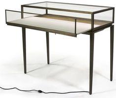 Brushed Steel Jewelry Display Case w/ Rear Slide Open Drawer, LED Lights - Bronze