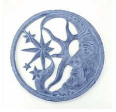 Moon And Star Wall Plaque - - Aluminum Garden Wall Plaque. Outdoor Wall Art, Outdoor Walls, Indoor Outdoor, Outdoor Living, Metal Wall Decor, Metal Wall Art, Medallion Wall Decor, Star Wars, Sun Moon Stars