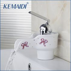 KEMAIDI Bathroom Faucet Waterfall Single Handle Luxury Ceramic Bathroom Basin Sink Mixer Tap Faucet Bathroom Faucets Taps #Affiliate
