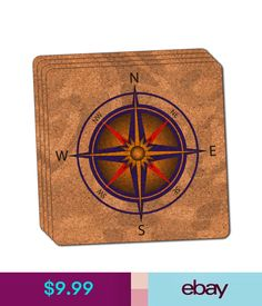 Compass Nautical North South East West Thin Cork Coaster Set of 4