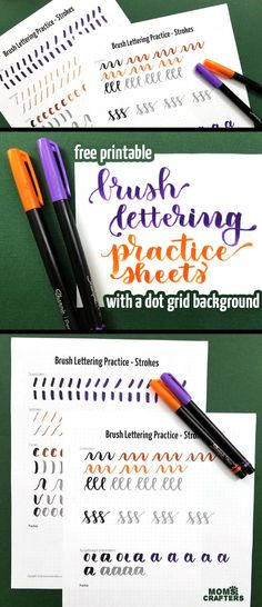 Free Printable Brush Lettering Practice Sheets – Strokes – Moms and Crafters lettering pulpen Practice Brush Lettering with these free printable practice pages Calligraphy Practice Sheets Free, Hand Lettering Practice, Hand Lettering Alphabet, How To Hand Lettering, How To Learn Calligraphy, Brush Pen Calligraphy, Calligraphy Alphabet, Calligraphy Fonts, Script Fonts