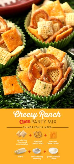 Spend less time prepping and more time enjoying the game with Cheesy Ranch Chex Party Mix. This 15-minute recipe has all the flavor of ranch and cheddar cheese in a simple, delicious game day snack.