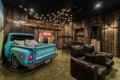 drive-in home theater with turquoise pickup truck