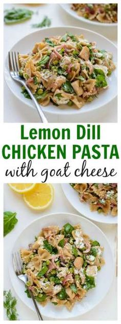 A healthy 30 minute whole wheat pasta recipe! Lemon Dill Chicken Pasta with Goat Cheese.
