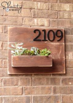 Awesome Crafts for Men and Manly DIY Project Ideas Guys Love - Fun Gifts, Manly Decor, Games and Gear. Tutorials for Creative Projects to Make This Weekend | Address Number Wall Planter | http://diyjoy.com/diy-projects-for-men-crafts