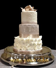 Ivory and Coffee Wedding Cake  ~ White crystal sparkles, gems, piping and bows ~ all edible
