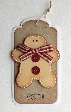 Tag christmas tilda ginger cookie man gingerman with bow, buttons from MFT Suit and Tie Die-namics, Nellie Snellen tag stax - til og fra kort tag gave jul med honningkage mand honning kagemand #tilda - JKE