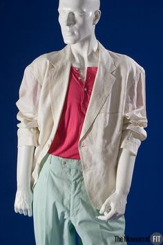 Medium: White linen, aqua and fuchsia cotton, and off-white suede Date: 1989 Country: USA Credit: Gift of Universal City Studios Vice cop Sonny Crockett—Don Johnson's character on the 1980s television series Miami Vice eMuseum - View Media